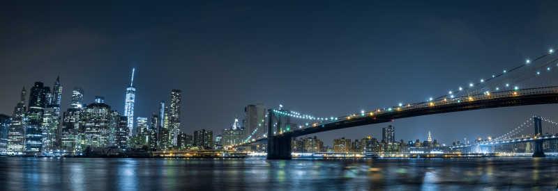 布鲁克林的纽约城市夜景