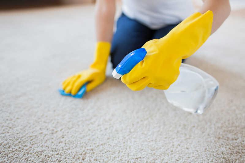 在家清洁地毯的年轻妇女