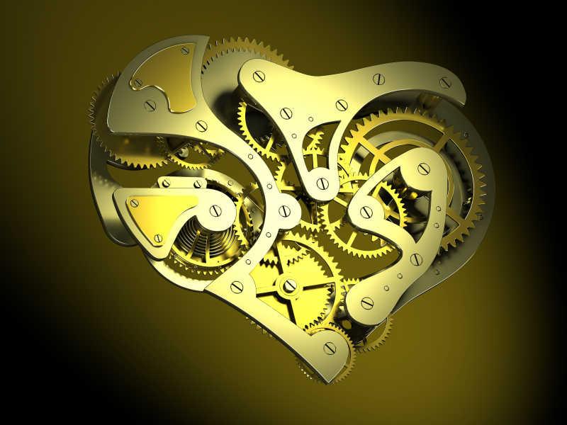 黑暗背景下的心形时钟机制3D概念