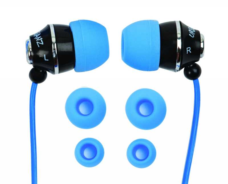 黑色入耳式耳机和蓝色耳塞
