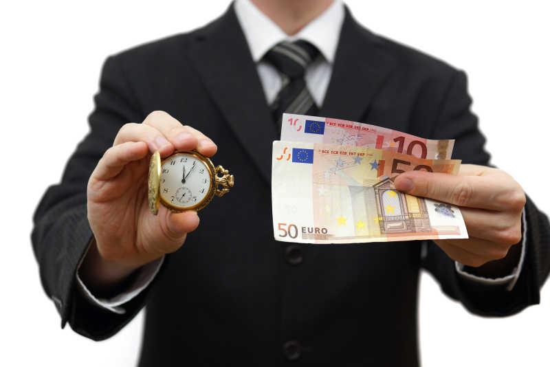 商人展示时间是金钱的概念