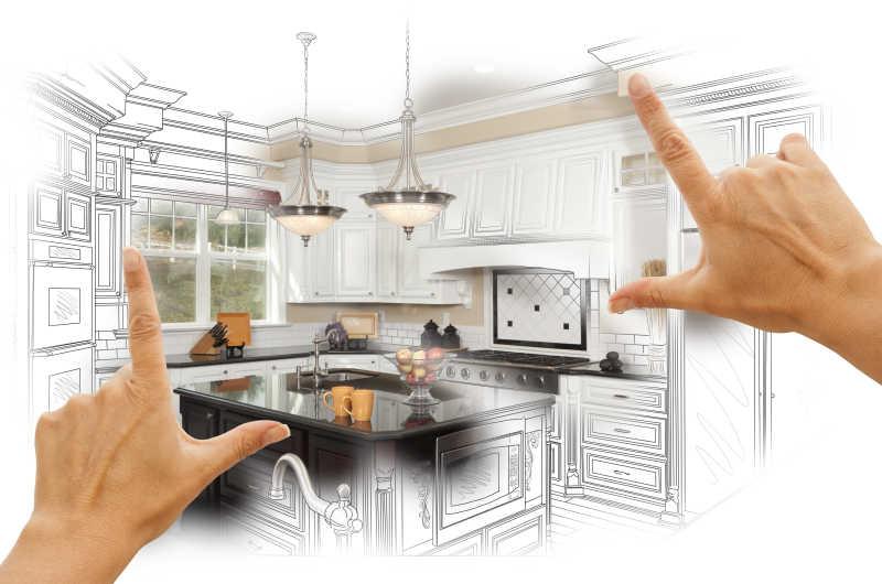 女性手框架定制厨房设计图和照片组合