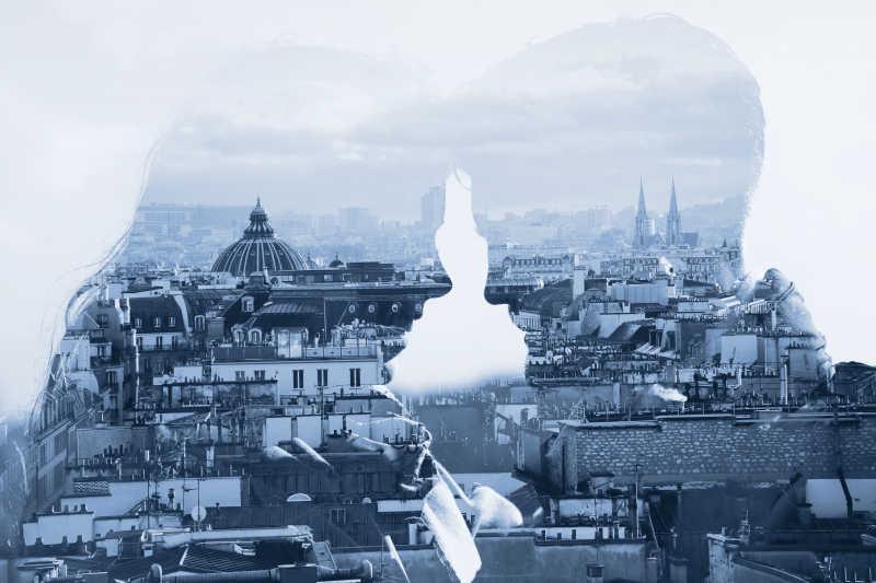 恋爱的情侣与都市建筑双重曝光