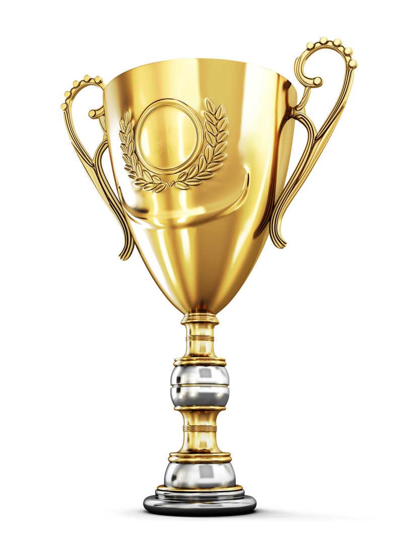 白色背景下的黄金奖杯