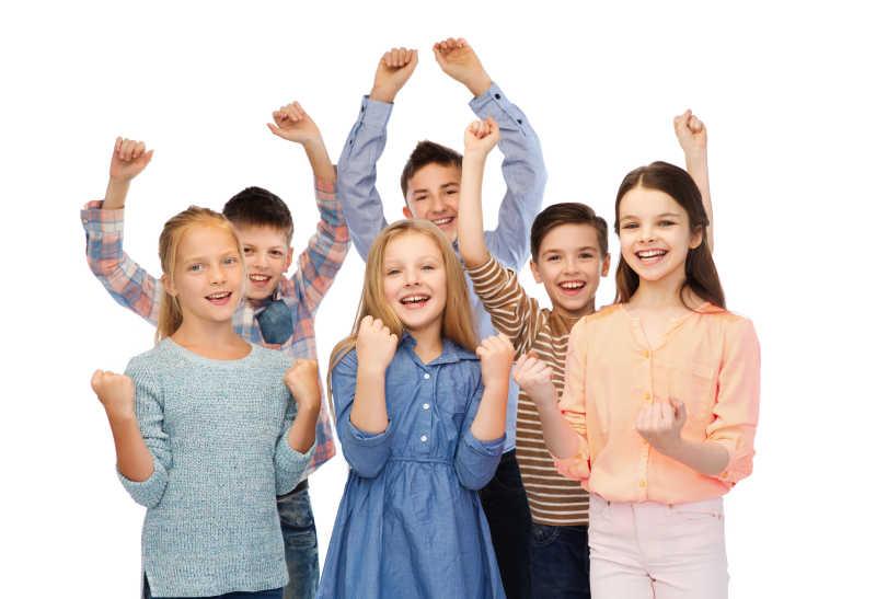 庆祝胜利的快乐儿童