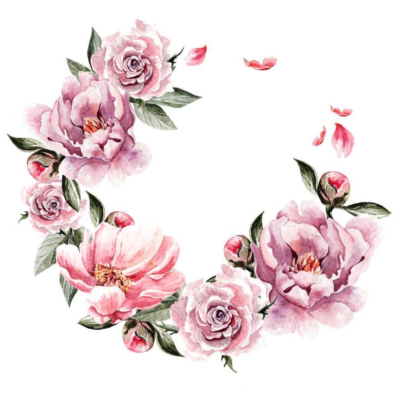 美丽的牡丹花和玫瑰水彩背景