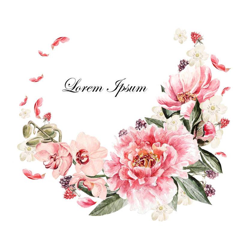 水彩绘制的牡丹花