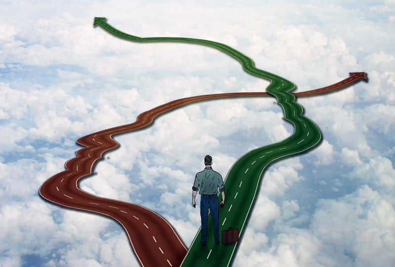 蓝天白云背景下的商人选择的不同道路