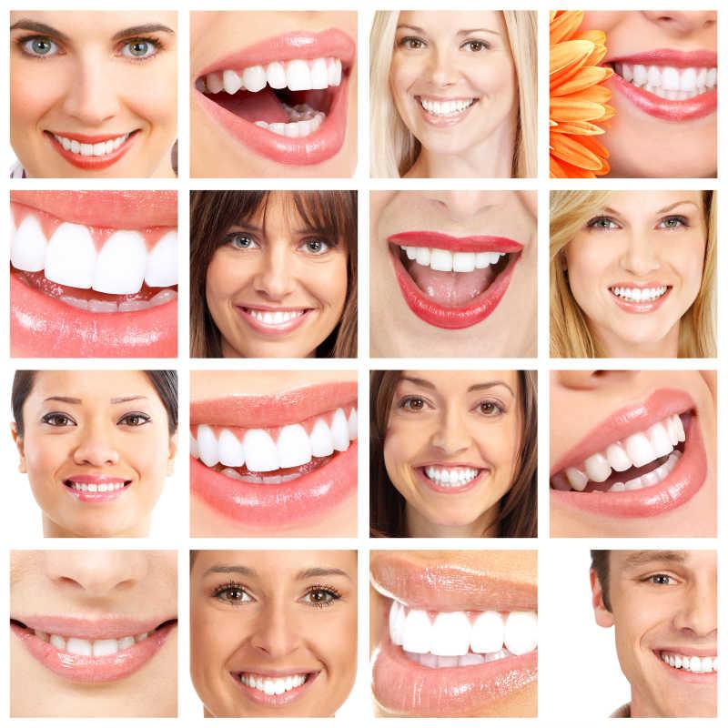 美女们的健康牙齿拼贴