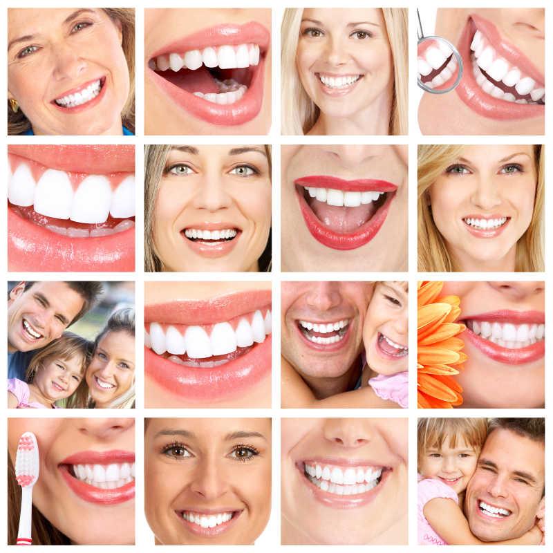 微笑的健康牙齿拼图