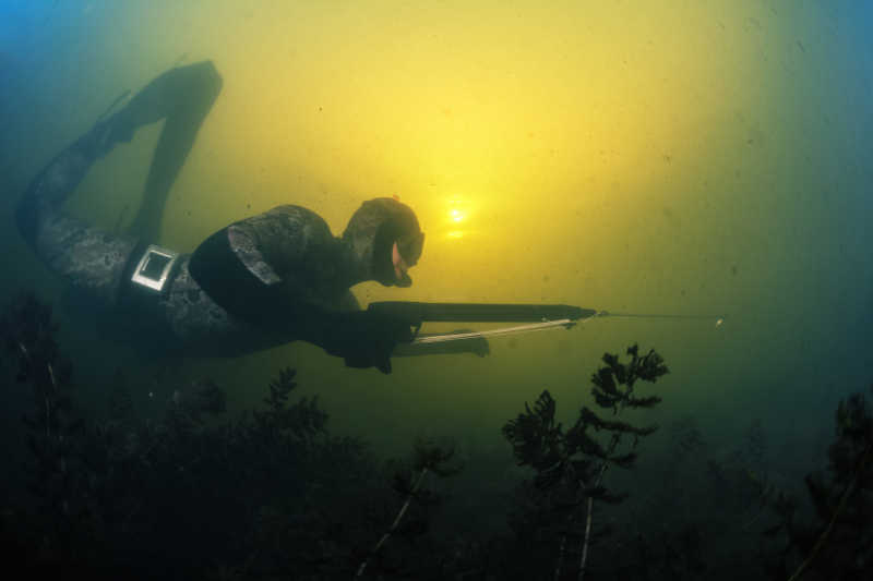 在水里捕鱼的渔民