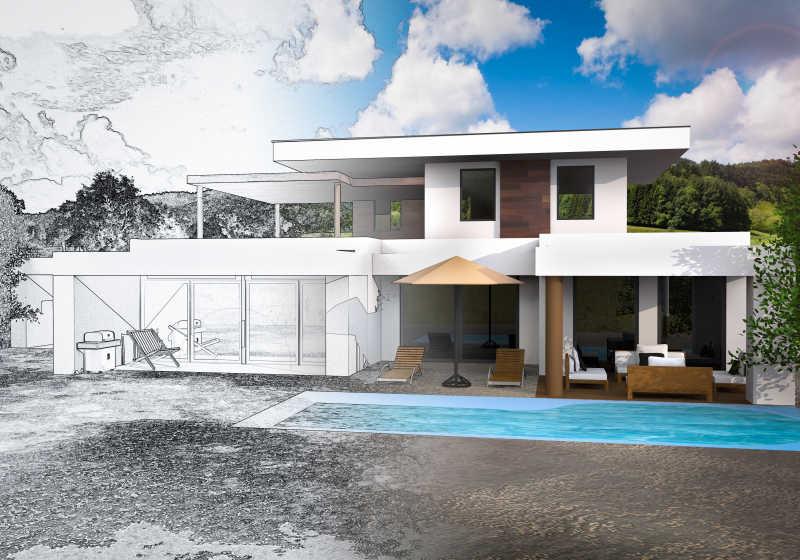 设计别墅的草图