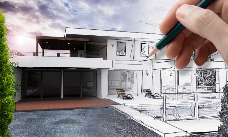 用笔画别墅的草图