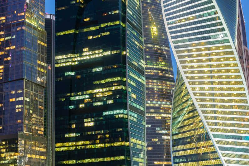 现代玻璃建筑摩天大楼灯光景观