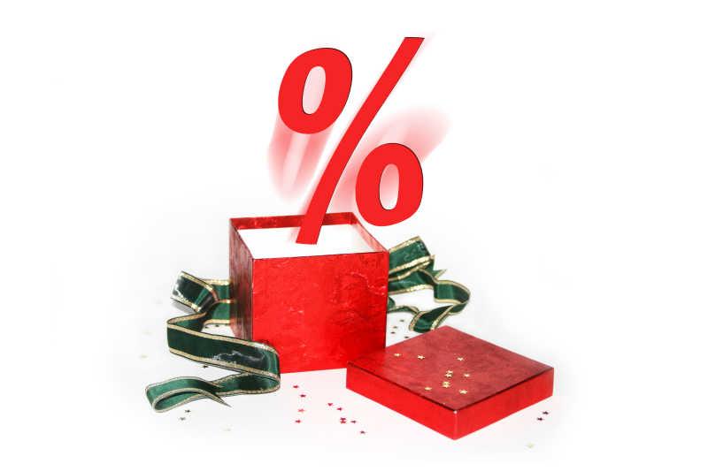 红色礼品盒飞出来的红色百分比