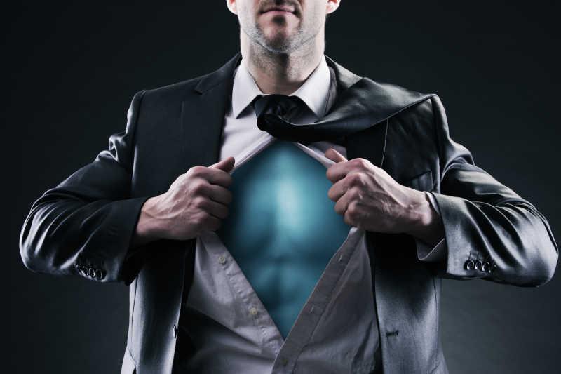 超级英雄商人概念