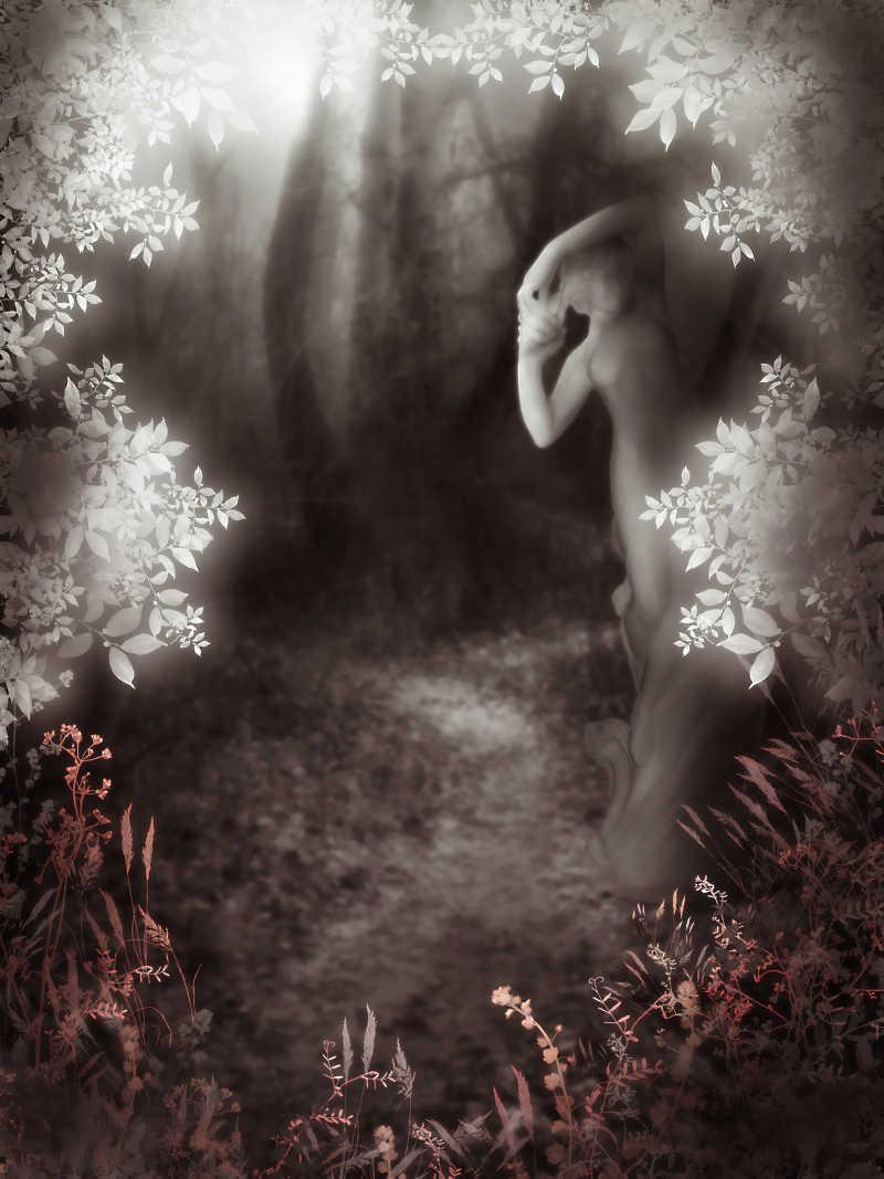 森林里的女人雕像
