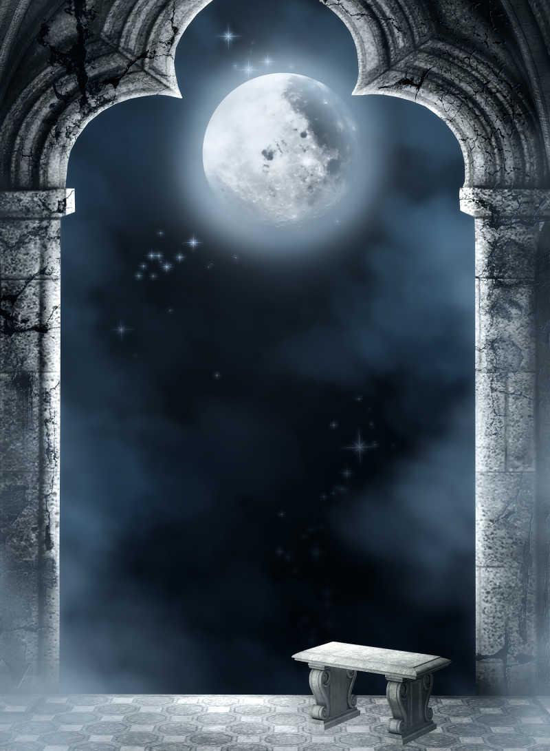 复古庭院里的月亮