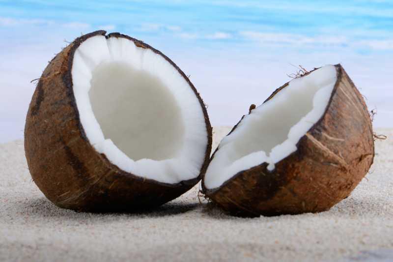 海滩上新鲜的椰子特写