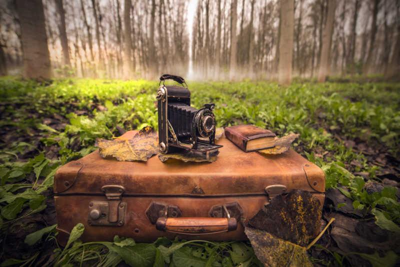 放在行李箱上的老式相机