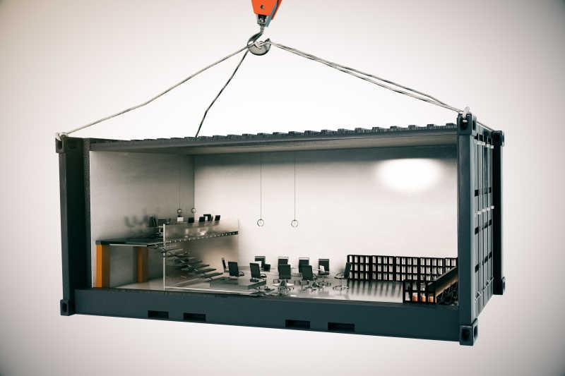 会议室内部集装箱吊吊吊钩吊灯背景