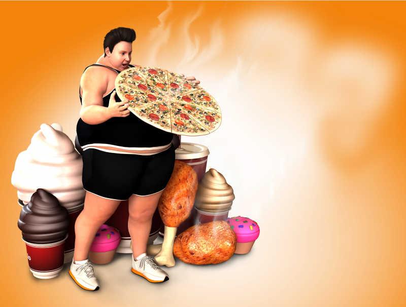 肥胖的男人拿着披萨