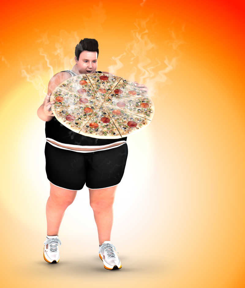 肥胖的男人和比萨饼