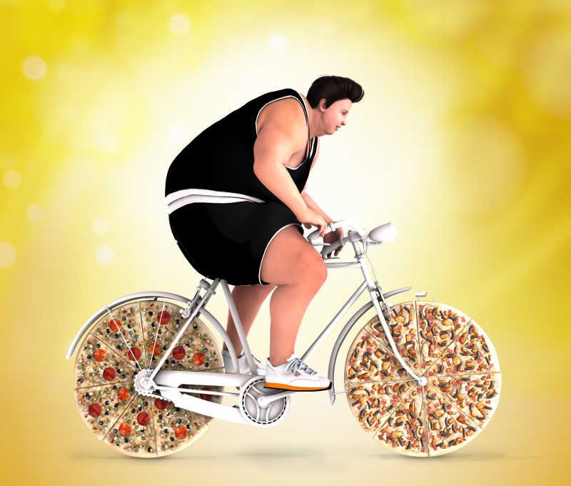 骑着比萨自行车的肥胖男子