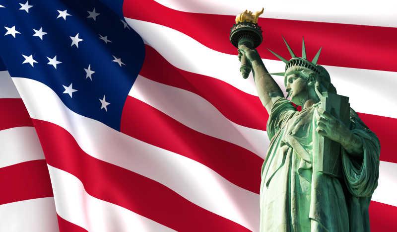 美国国旗背景下的自由女神像