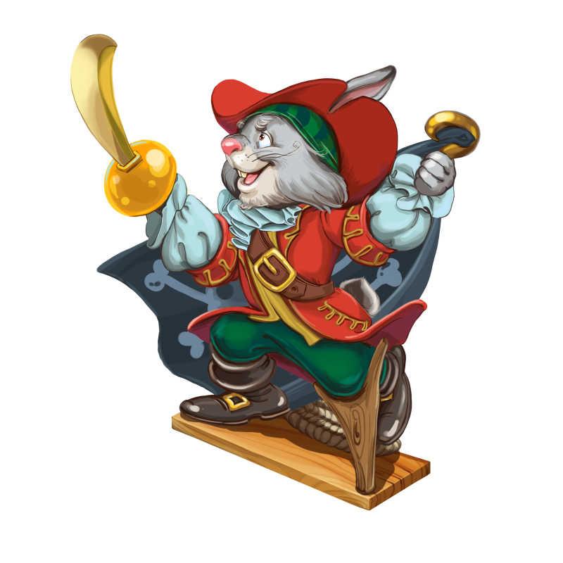 一手拿刀一手拿勾的海盗兔子