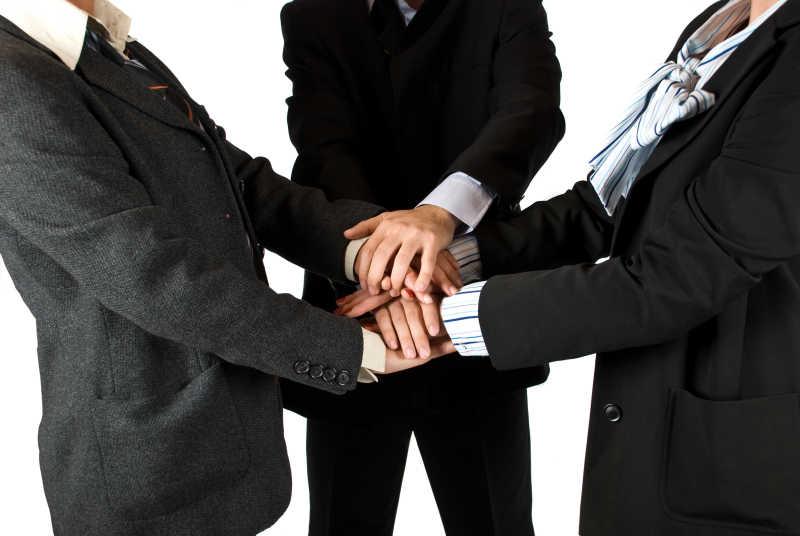 联合业务团队握手显示友谊的集合