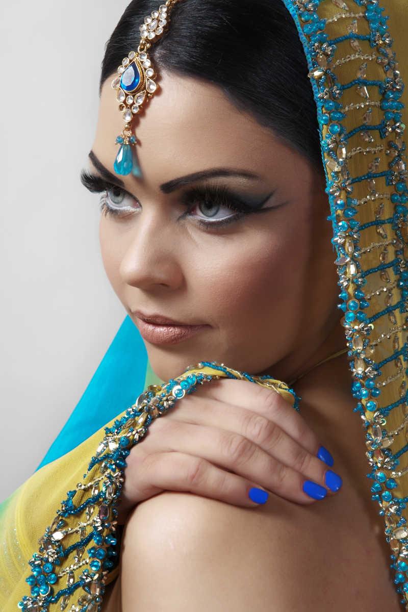 印度妆容的美女