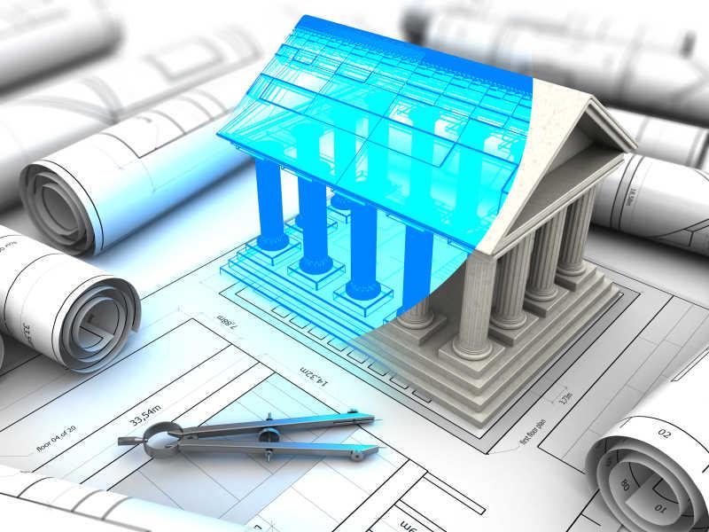 古式建筑模型与平面图的立体模型