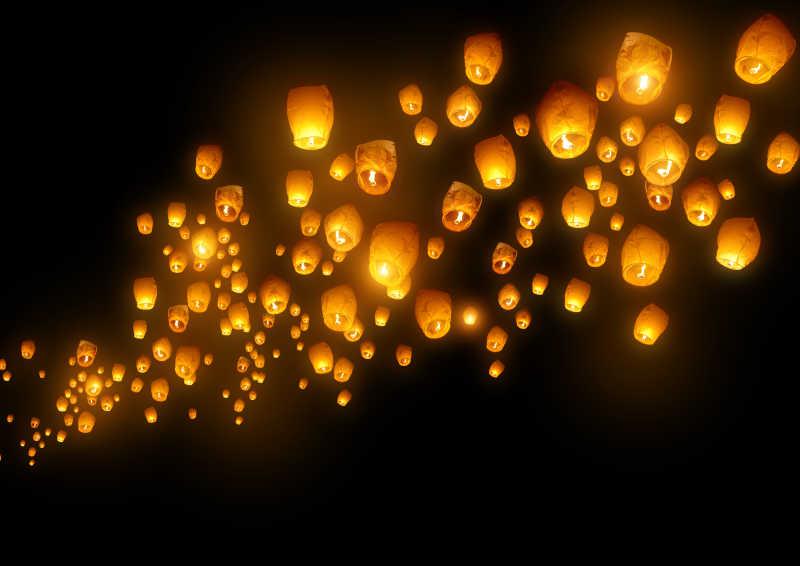 夜空中发着微光的孔明灯