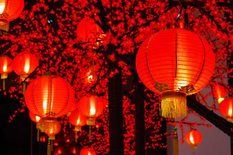 唐人街的中国灯笼
