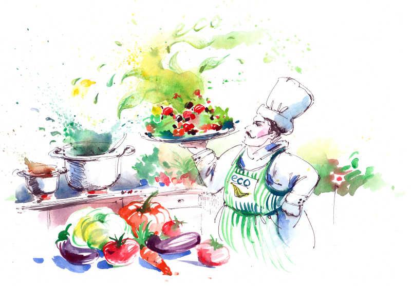 用蔬菜烹调美味健康食品插画