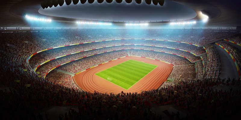 坐满观众的足球场