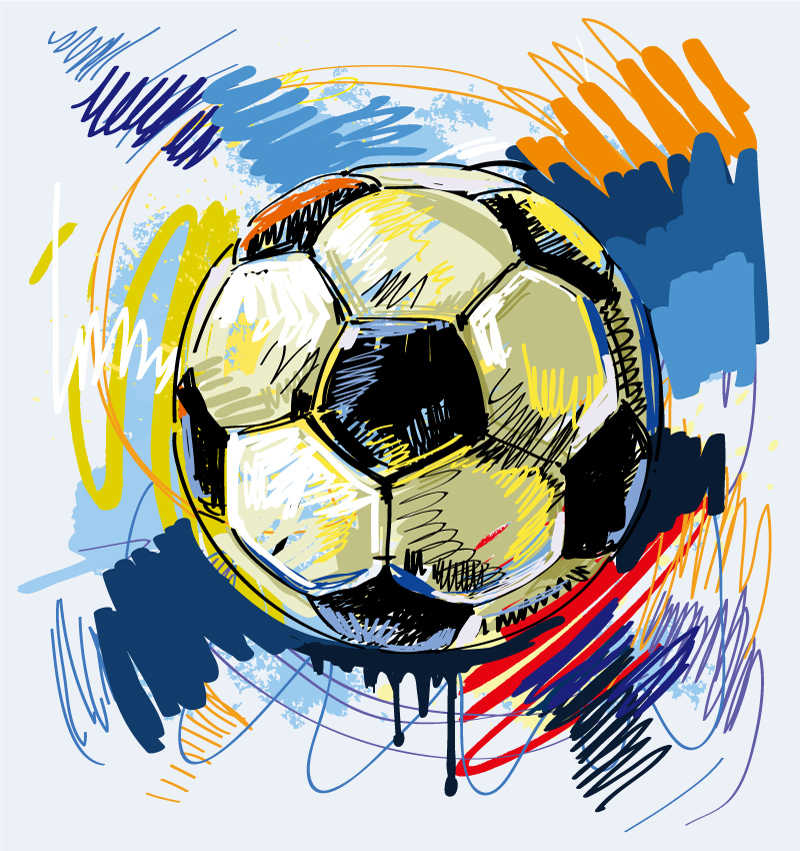手绘矢量足球背景
