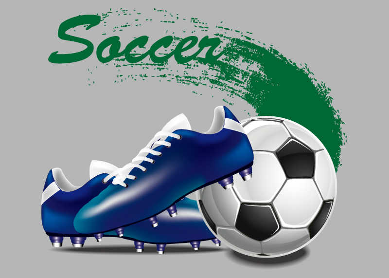 矢量的跑鞋和足球