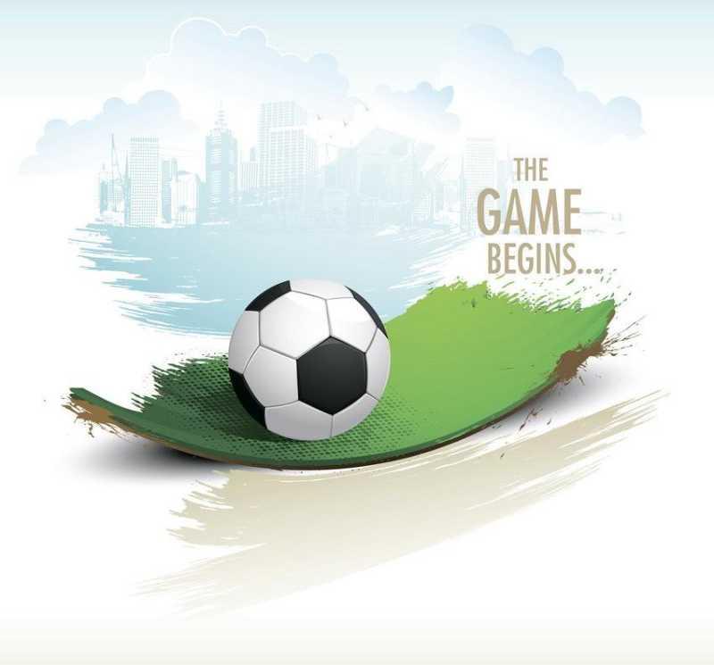 绿色草坪上的足球矢量背景
