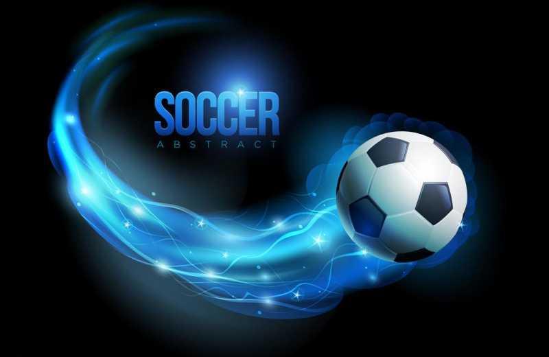 带着蓝色拖尾的足球矢量背景