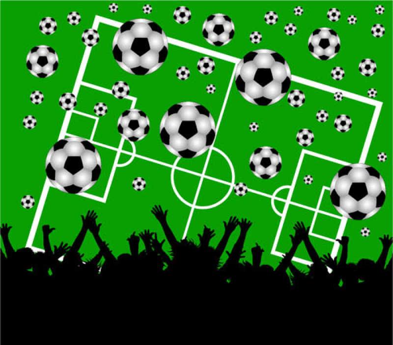 球场上空的足球和人们剪影矢量