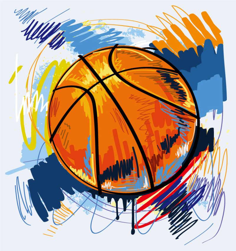 手绘矢量篮球背景
