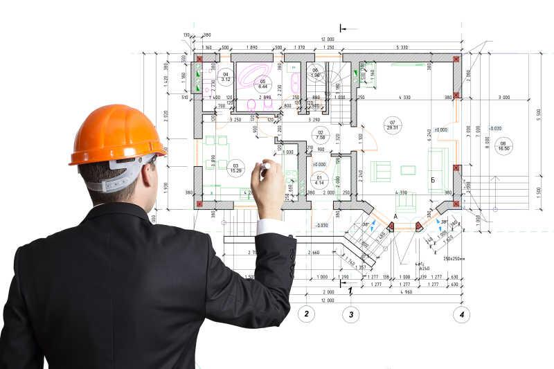 建筑师绘制建筑平面图