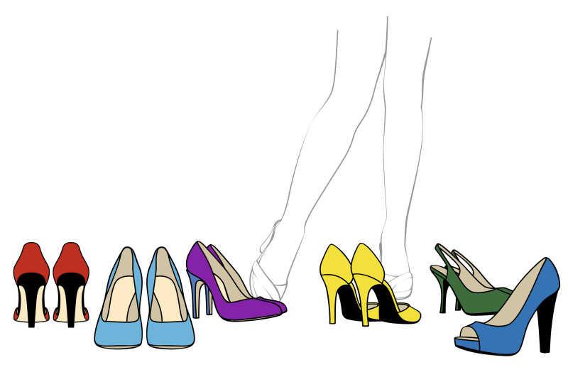 女人高跟鞋的插画