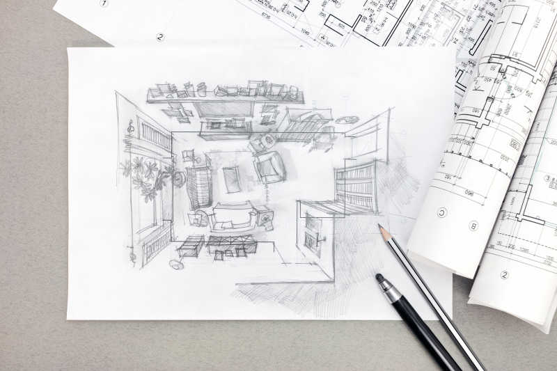 客厅手绘草图与铅笔