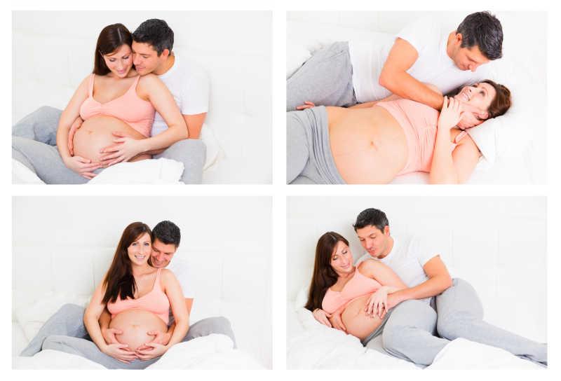 丈夫和怀孕的妻子的幸福图集