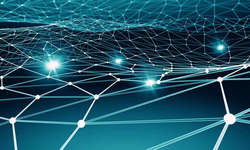 具有社会连接线的蓝色背景