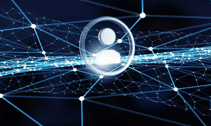 模拟网络社交概念的蓝色连线