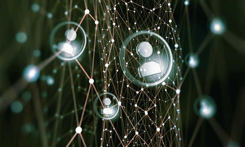 网络社交概念模拟银色连线